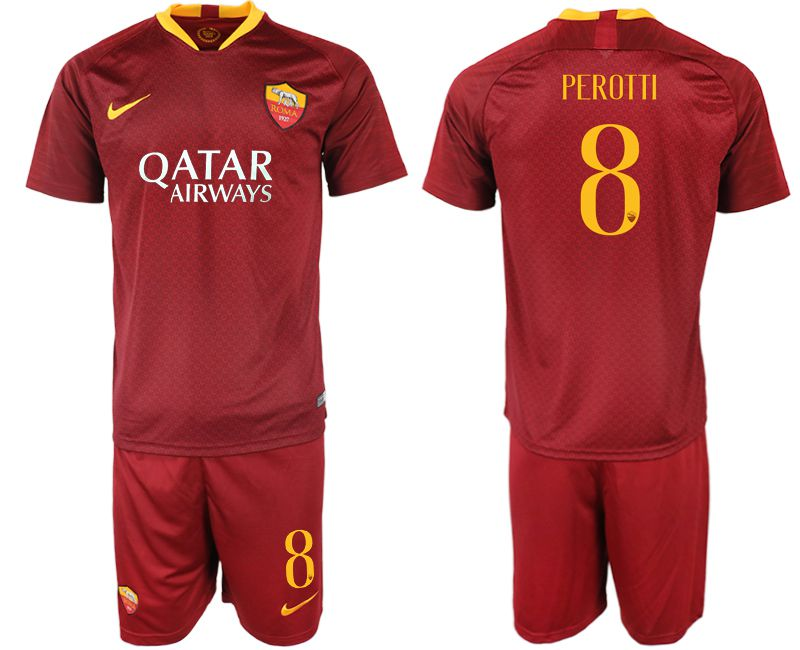 Men 2018-2019 club Rome home 8 red soccer jersey