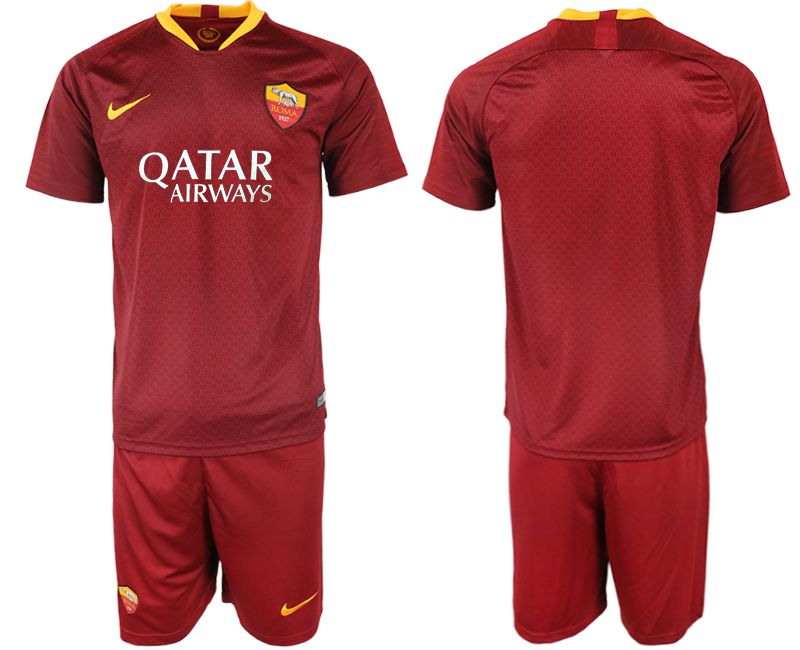 Men 2018-2019 club Rome home red soccer jersey