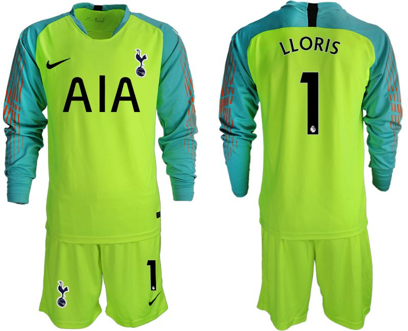 Men 2018-2019 club Tottenham Hotspur Football Club fluorescent green long sleeve goalkeeper 1 Soccer Jerseys