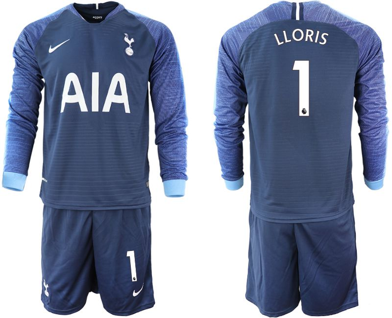 Men 2018-2019 club Tottenham Hotspur away Long sleeve 1 blue Soccer Jerseys