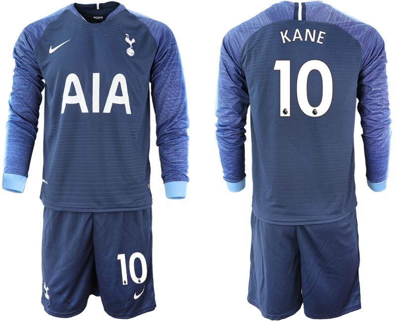 Men 2018-2019 club Tottenham Hotspur away Long sleeve 10 blue Soccer Jerseys