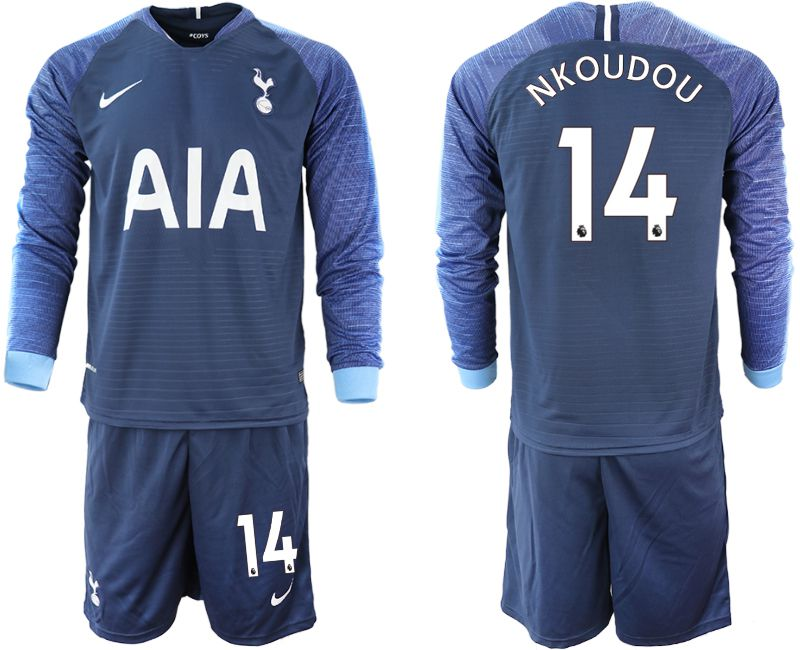 Men 2018-2019 club Tottenham Hotspur away Long sleeve 14 blue Soccer Jerseys