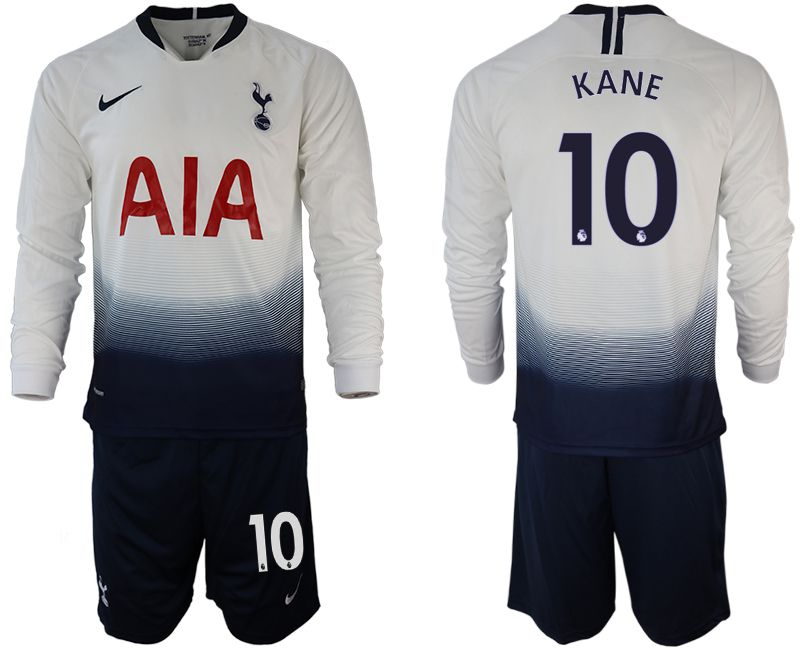 Men 2018-2019 club Tottenham Hotspur home long sleeve 10 white Soccer Jerseys
