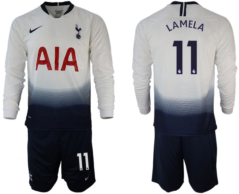 Men 2018-2019 club Tottenham Hotspur home long sleeve 11 white Soccer Jerseys