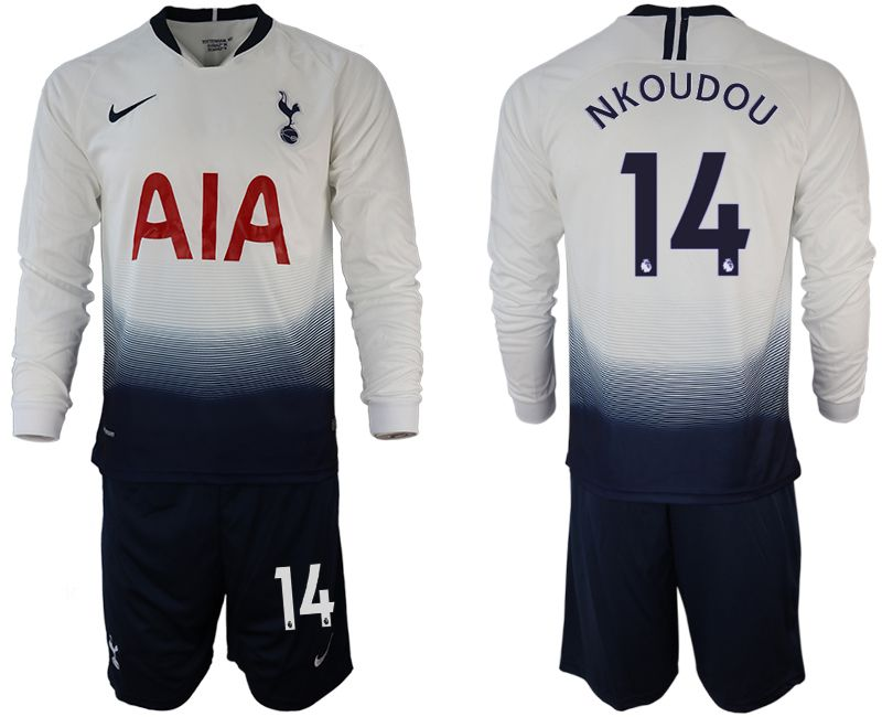 Men 2018-2019 club Tottenham Hotspur home long sleeve 14 white Soccer Jerseys