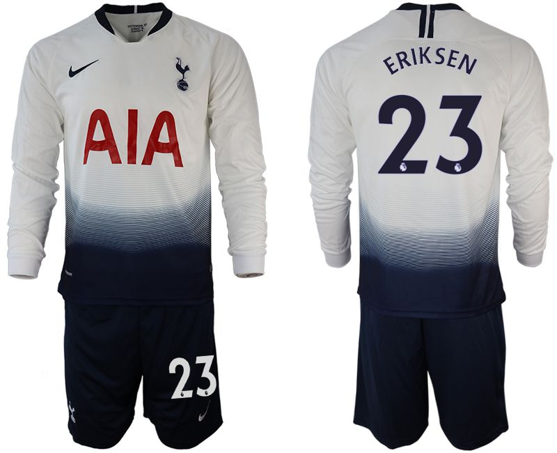 Men 2018-2019 club Tottenham Hotspur home long sleeve 23 white Soccer Jerseys