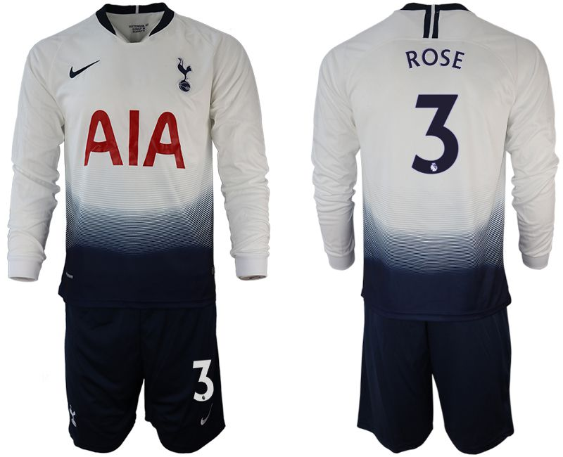 Men 2018-2019 club Tottenham Hotspur home long sleeve 3 white Soccer Jerseys