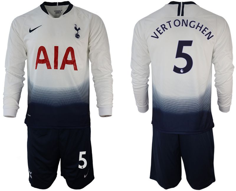 Men 2018-2019 club Tottenham Hotspur home long sleeve 5 white Soccer Jerseys
