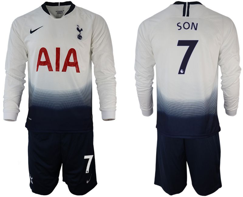Men 2018-2019 club Tottenham Hotspur home long sleeve 7 white Soccer Jerseys
