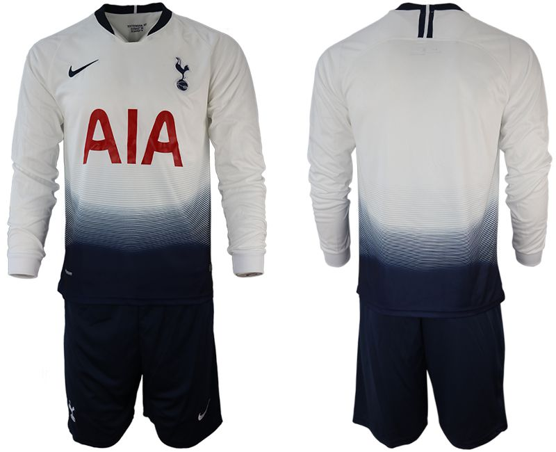 Men 2018-2019 club Tottenham Hotspur home long sleeve white Soccer Jerseys