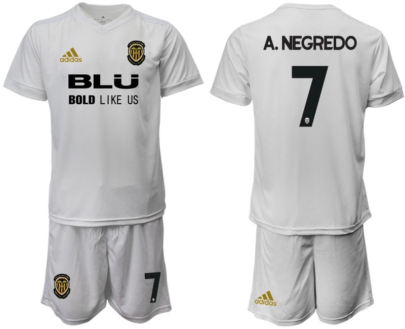 Men 2018-2019 club Valencia CF home 7 white soccer jersey