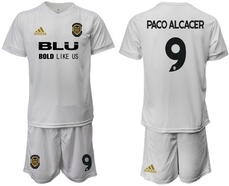 Men 2018-2019 club Valencia CF home 9 white soccer jersey