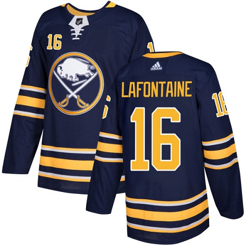 Men Adidas Buffalo Sabres 16 Pat Lafontaine Navy Blue Home Authentic Stitched NHL Jersey