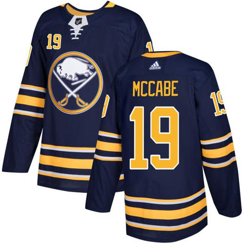 Men Adidas Buffalo Sabres 19 Jake McCabe Navy Blue Home Authentic Stitched NHL Jersey