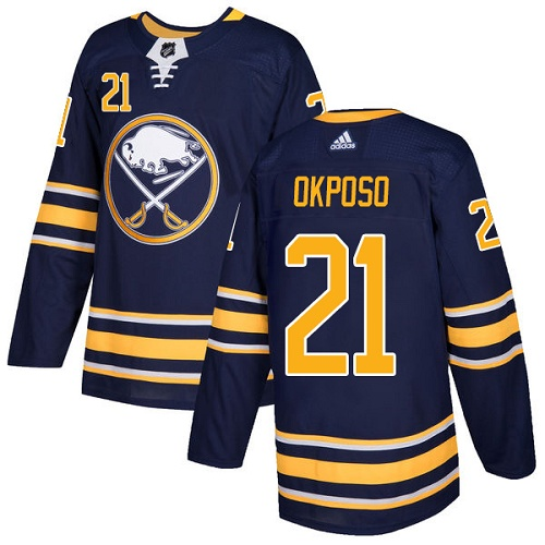 Men Adidas Buffalo Sabres 21 Kyle Okposo Navy Blue Home Authentic Stitched NHL Jersey