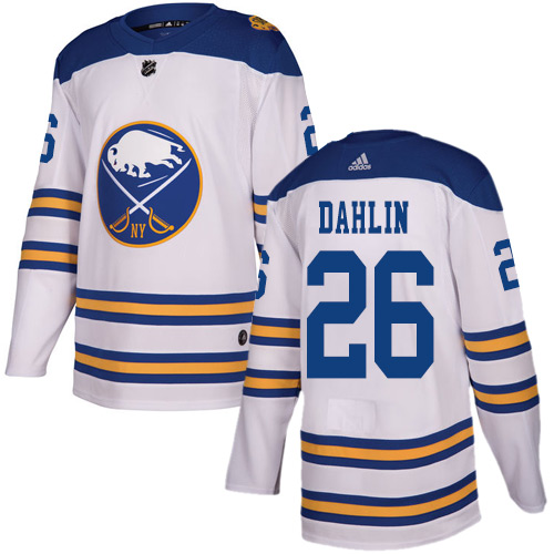 Men Adidas Buffalo Sabres 26 Rasmus Dahlin White Authentic 2018 Winter Classic Stitched NHL Jersey