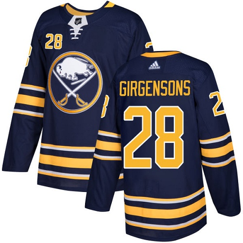 Men Adidas Buffalo Sabres 28 Zemgus Girgensons Navy Blue Home Authentic Stitched NHL Jersey