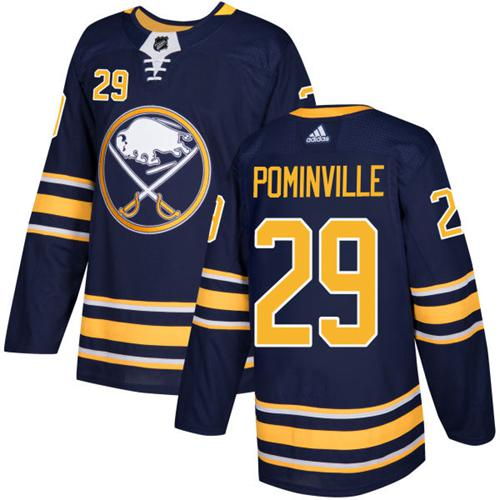 Men Adidas Buffalo Sabres 29 Jason Pominville Navy Blue Home Authentic Stitched NHL Jersey