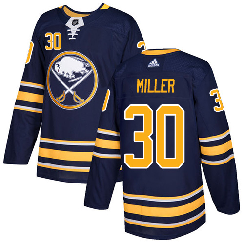 Men Adidas Buffalo Sabres 30 Ryan Miller Navy Blue Home Authentic Stitched NHL Jersey