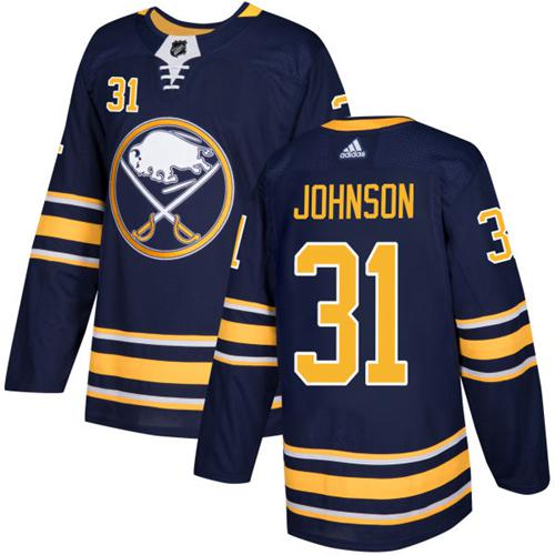 Men Adidas Buffalo Sabres 31 Chad Johnson Navy Blue Home Authentic Stitched NHL Jersey