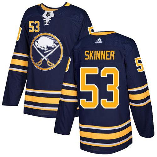 Men Adidas Buffalo Sabres 53 Jeff Skinner Navy Blue Home Authentic Stitched NHL Jersey