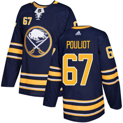 Men Adidas Buffalo Sabres 67 Benoit Pouliot Navy Blue Home Authentic Stitched NHL Jersey