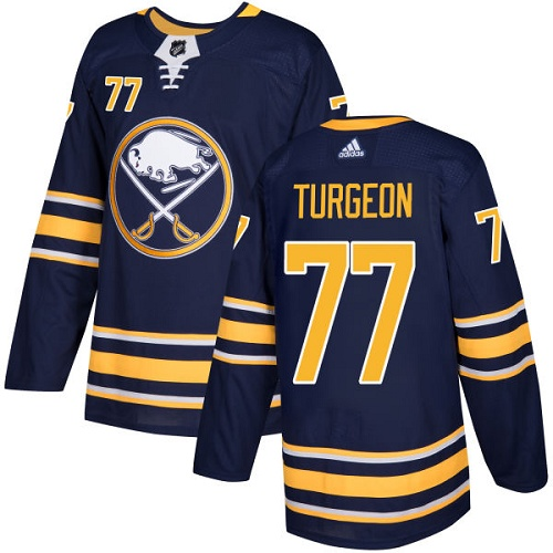 Men Adidas Buffalo Sabres 77 Pierre Turgeon Navy Blue Home Authentic Stitched NHL Jersey