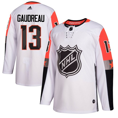 Men Adidas Calgary Flames 13 Johnny Gaudreau White 2018 All-Star NHL Jersey