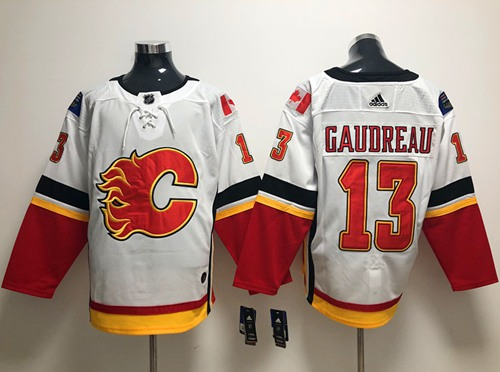 Men Adidas Calgary Flames 13 Johnny Gaudreau White Road Authentic Stitched NHL Jersey