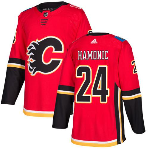 Men Adidas Calgary Flames 24 Travis Hamonic Red Home Authentic Stitched NHL Jersey
