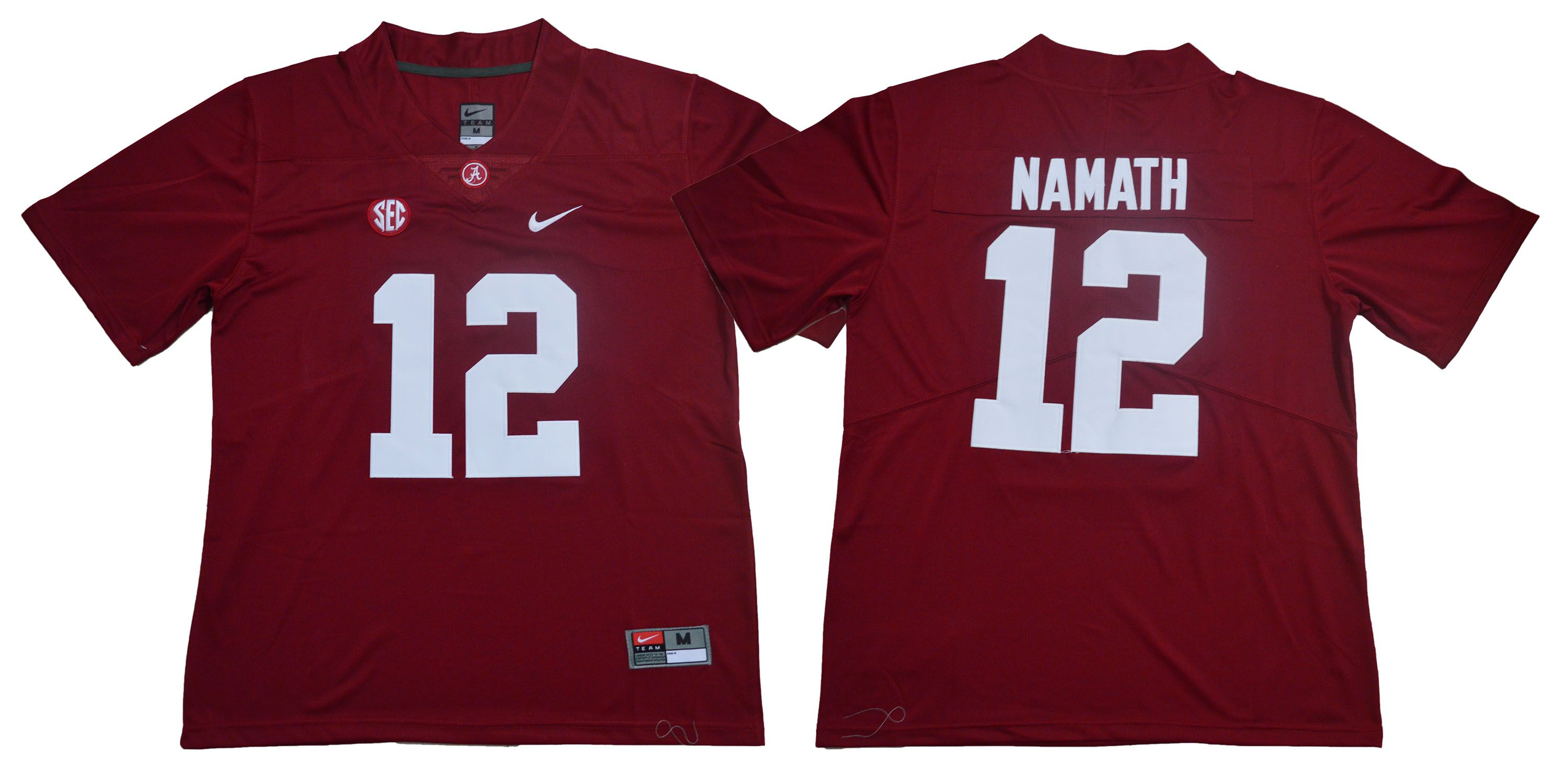 Men Alabama Crimson Tide 12 Namath Red Legendary Edition NCAA Jerseys