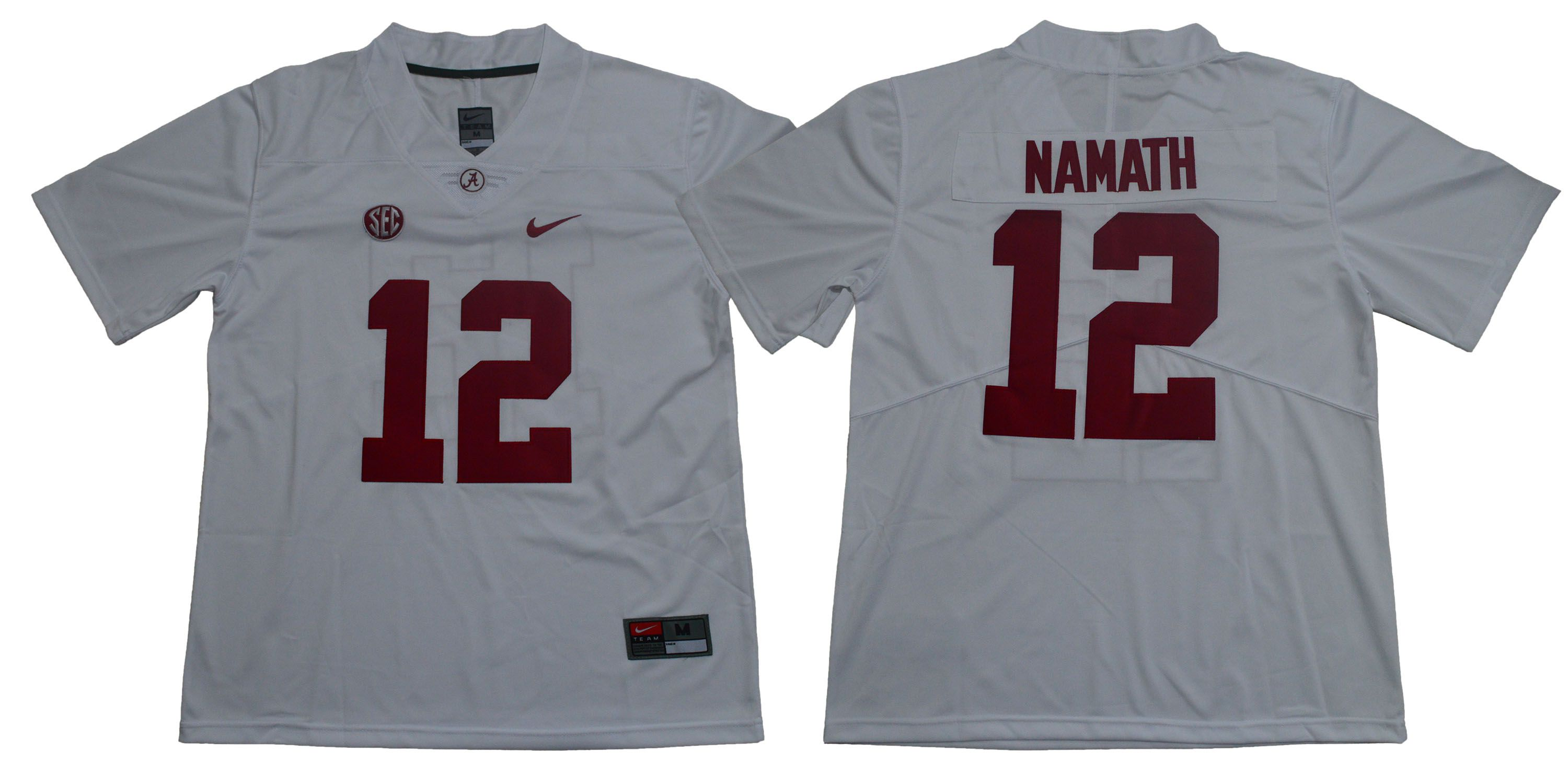 Men Alabama Crimson Tide 12 Namath White Legendary Edition NCAA Jerseys