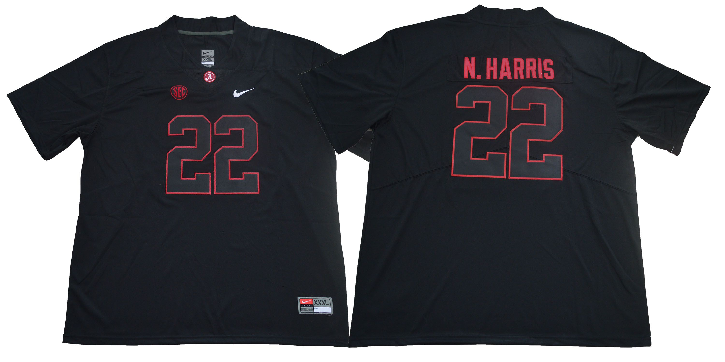 Men Alabama Crimson Tide 22 N.Harris Black Legendary Edition NCAA Jerseys