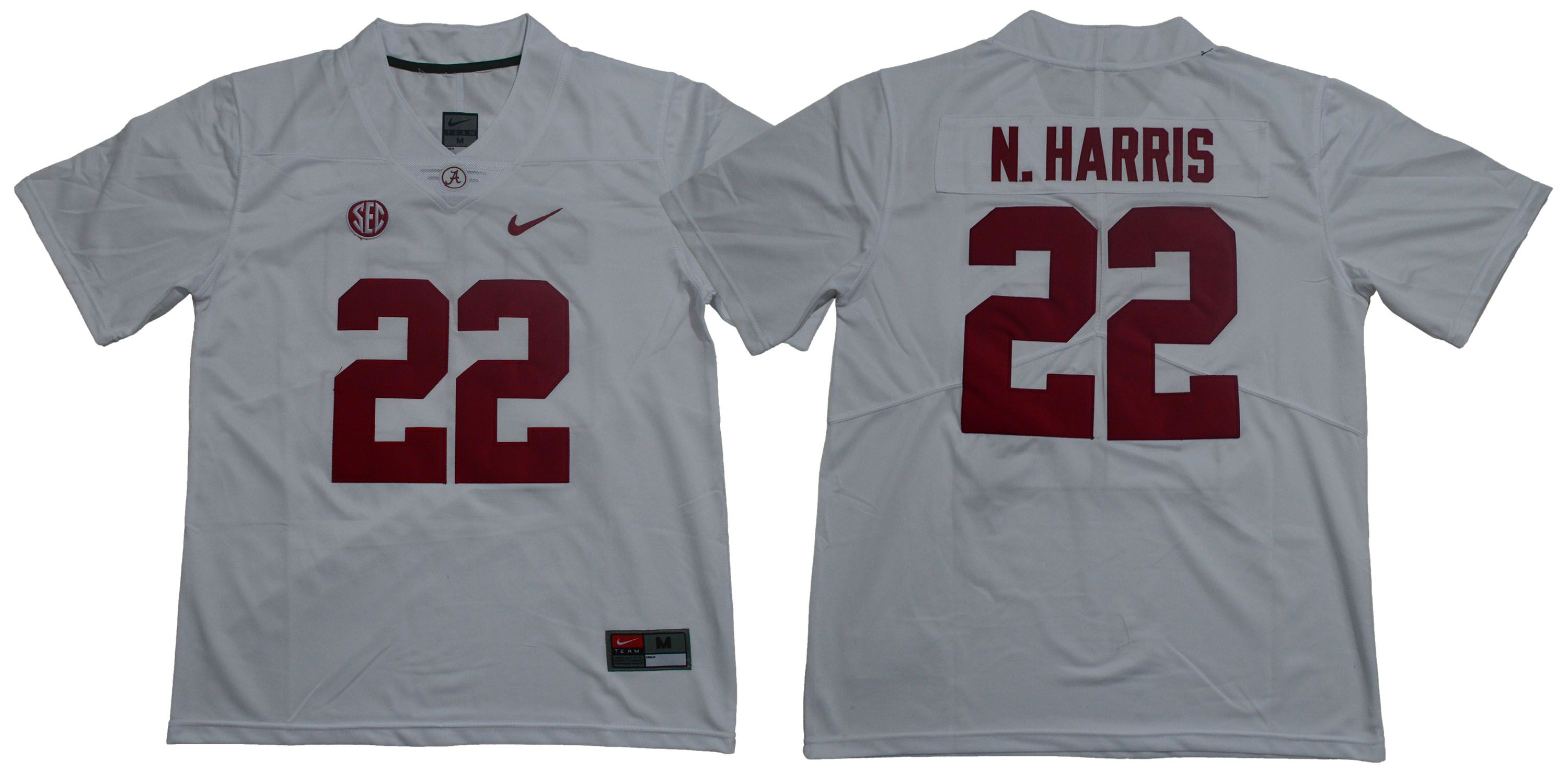 Men Alabama Crimson Tide 22 N.Harris White Legendary Edition NCAA Jerseys