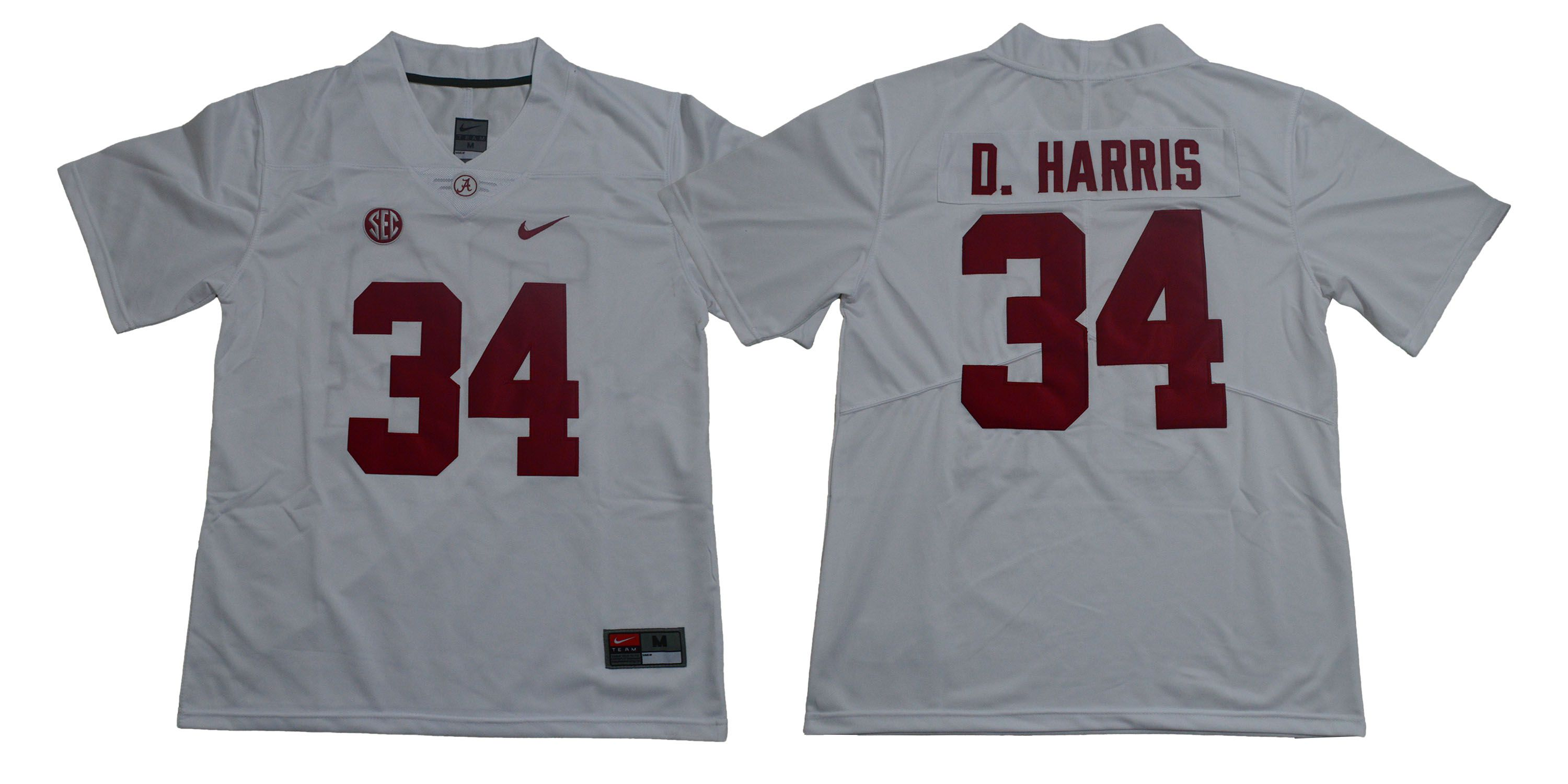 Men Alabama Crimson Tide 34 D.Harris White Legendary Edition NCAA Jerseys