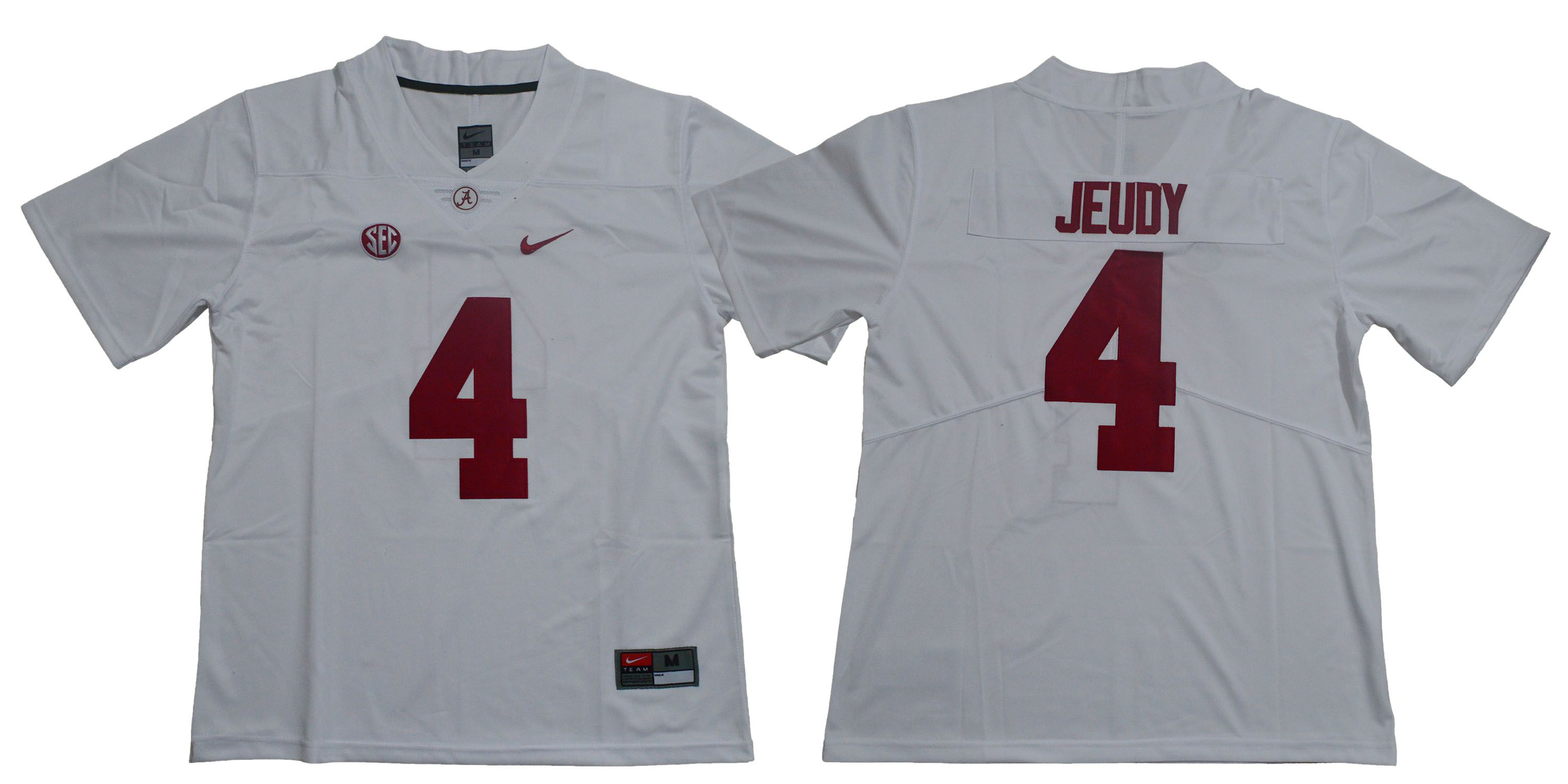 Men Alabama Crimson Tide 4 Jeudy White Legendary Edition NCAA Jerseys