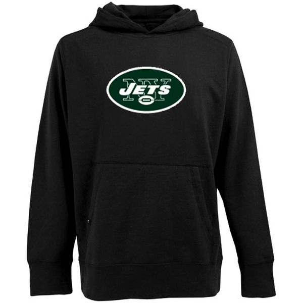 Men Antigua New York Jets Signature Pullover Hoodie Black