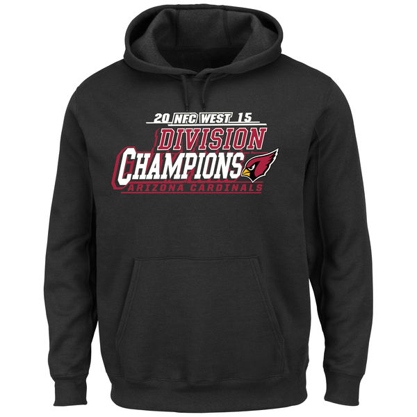 Men Arizona Cardinals Majestic 2015 NFC West Division Champions Pullover Hoodie Black