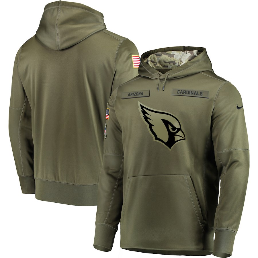 Men Arizona Cardinals Nike Olive Salute To Service KO Performance Hoodie Green