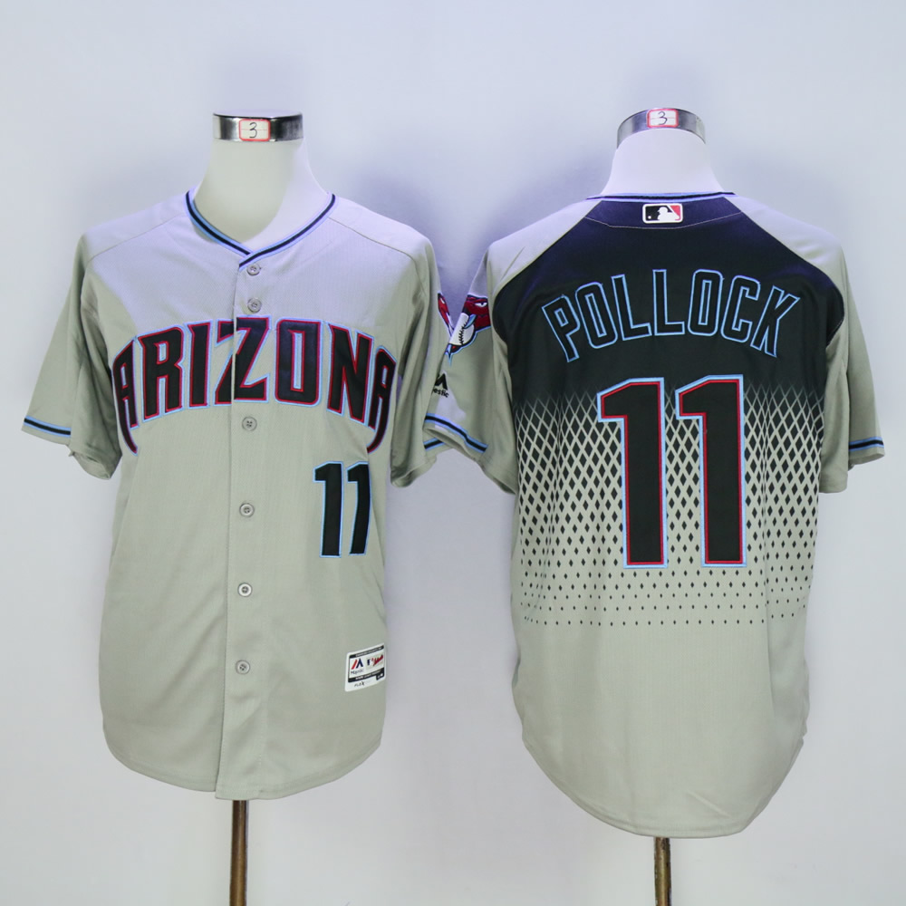 Men Arizona Diamondback 11 Pollock Grey MLB Jerseys
