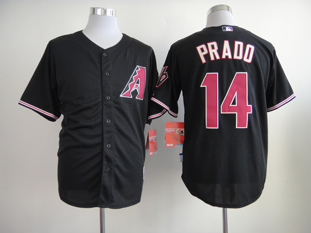 Men Arizona Diamondback 14 Prado Black MLB Jerseys