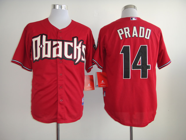 Men Arizona Diamondback 14 Prado Red MLB Jerseys