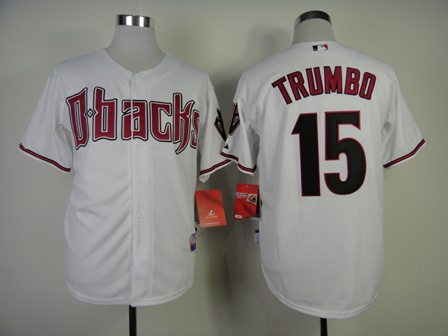 Men Arizona Diamondback 15 Trumbo White MLB Jerseys