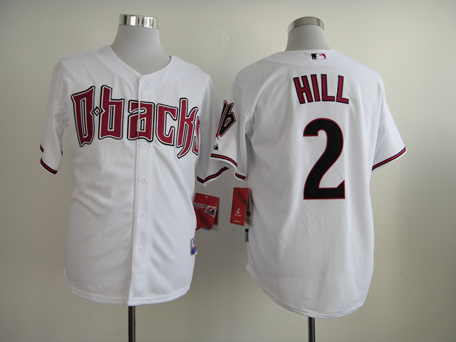 Men Arizona Diamondback 2 Hill White MLB Jerseys