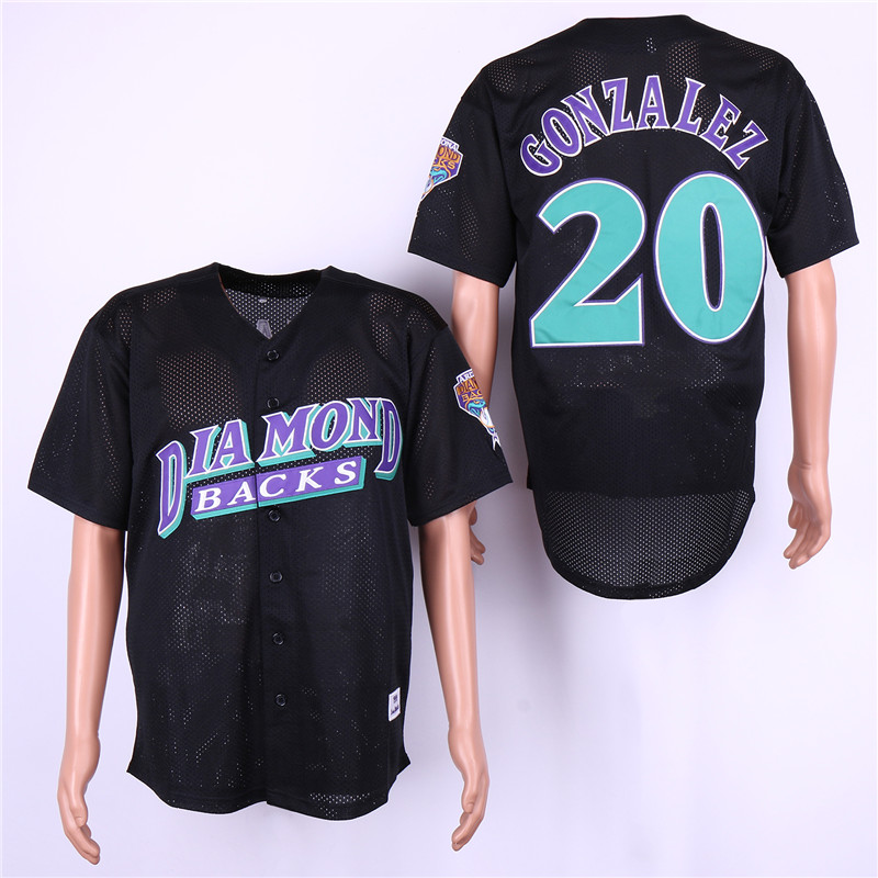 Men Arizona Diamondback 20 Gonzalez Black MLB Jerseys
