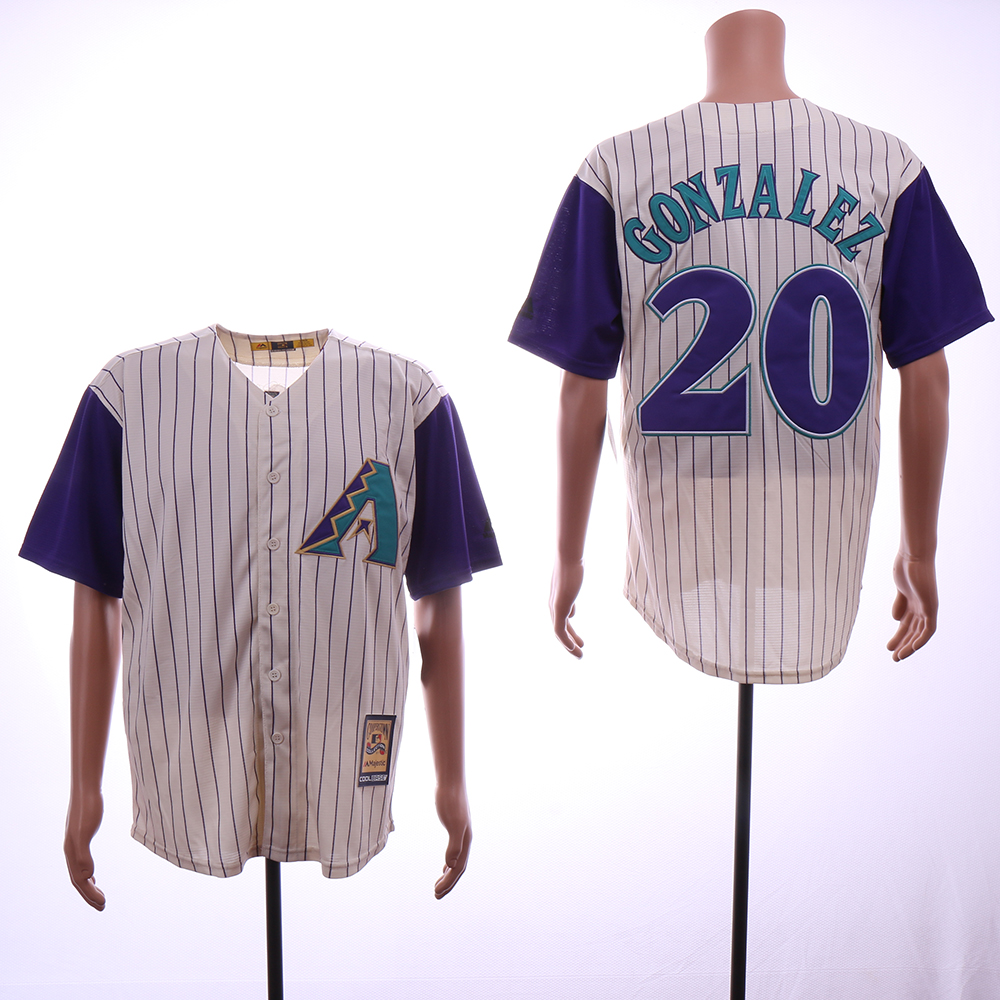 Men Arizona Diamondback 20 Gonzalez Cream Stripe MLB Jerseys