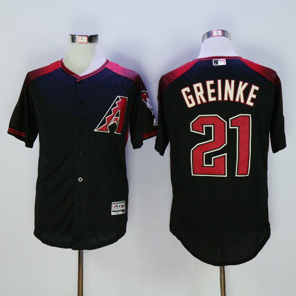 Men Arizona Diamondback 21 Greinke Black MLB Jerseys