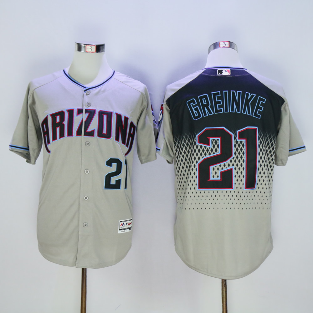 Men Arizona Diamondback 21 Greinke Grey MLB Jerseys