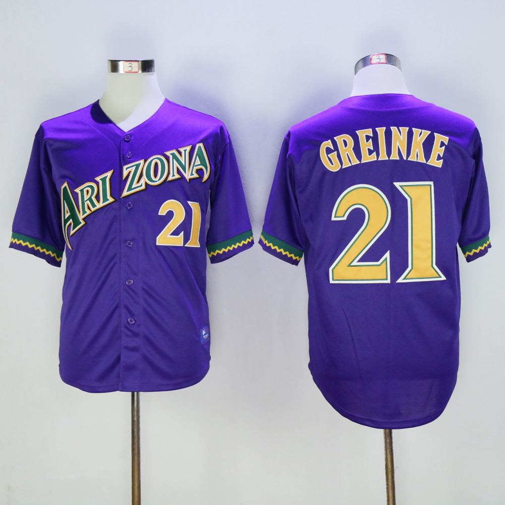 Men Arizona Diamondback 21 Greinke Purple Throwback MLB Jerseys