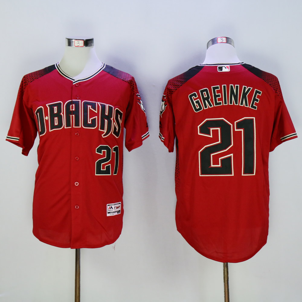 Men Arizona Diamondback 21 Greinke Red MLB Jerseys